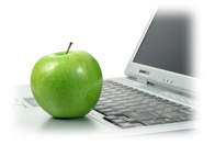 Education - An apple with a laptop